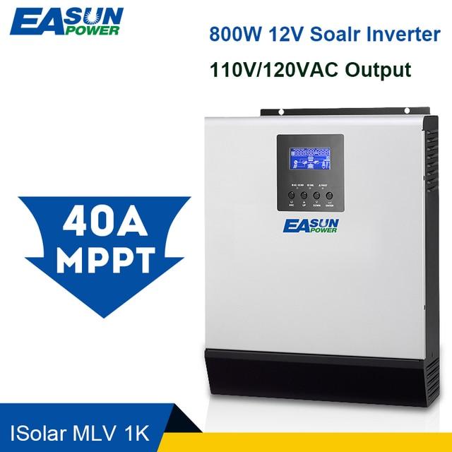 Easun電源 12vソーラーインバータ 800 ワットmppt 1Kva純粋な正弦波インバーター 40Aオフグリッドインバータ 110vハイブリッドインバータ 20A ac
