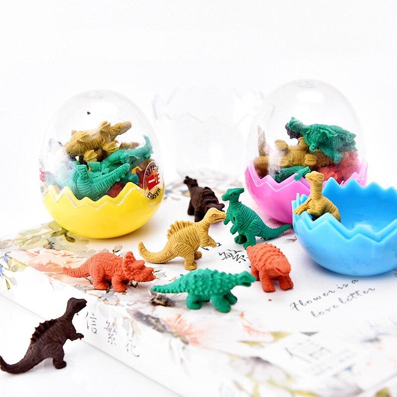8 pcs Mini Cartoon Dinosaur Erasers Funny Kawaii Pencil Rubber Eraser In Egg For Kids Student Novelty Gift School Stationery