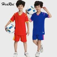 2017 New Kids Short Sleeved Soccer Jersey Young Soccer Suit Children Football Uniforms Customized T Shirt