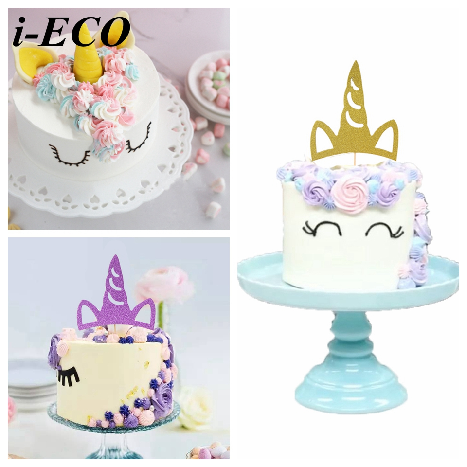 5pcs Unicorn Cake Topper Diy Cupcake Toppers Birthday Cake Toppers