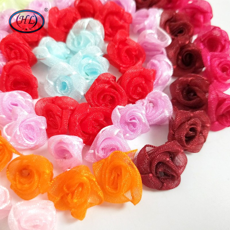 100pcs Mini Satin Ribbon Rose Flower Leaf Wedding Decor Appliques Sewing DIY TP