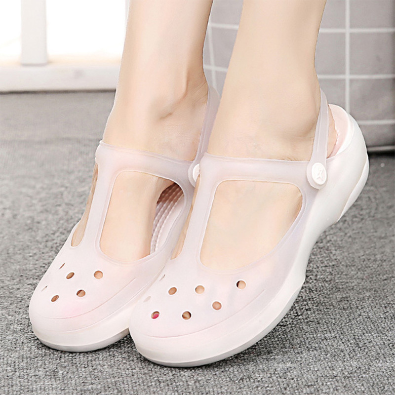 Summer Women Sandals Flat Jelly Shoes Waterproof Female Ankle Buckle Slippers Soft Light Slides Comfortable Casual Beach Shoes