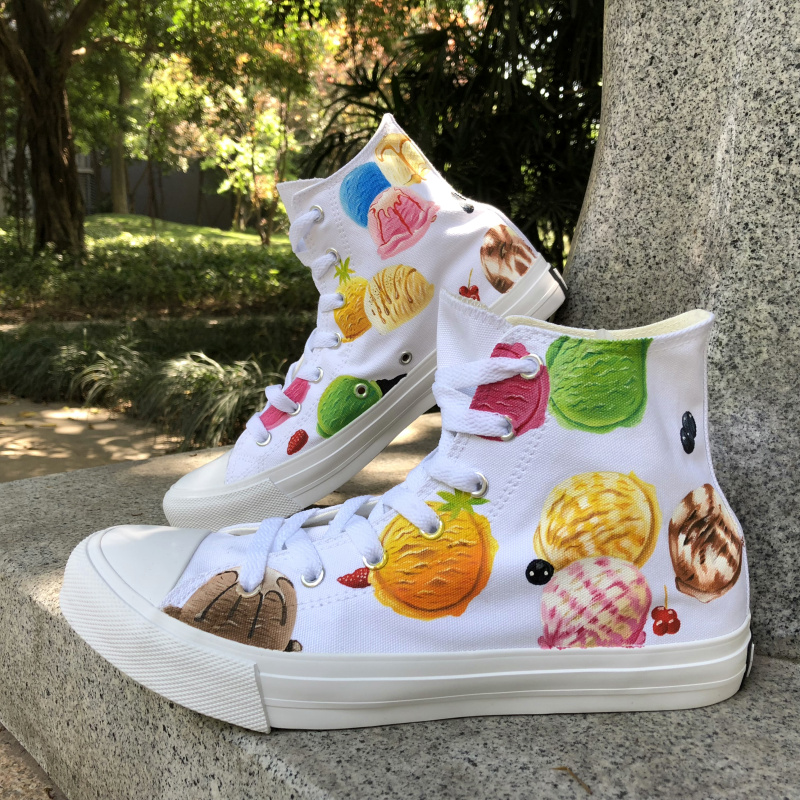 Wen Boy Girl's Gifts Hand Painted Shoes Ice Cream Canvas Original Shoes High Top Design Sneakers Unisex Athletic Shoes wen sneakers colorful ice cream hand painted canvas shoes white high top plimsolls original design graffiti single shoes flat