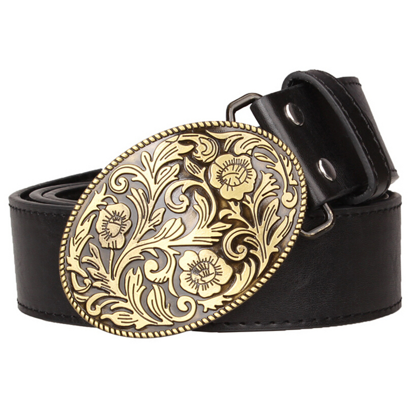Fashion Belt Metal Buckle Retro Arabesque Pattern Belt Flower Design Arabian Style Belts Men Cowboy Bull Belt Women's Gift