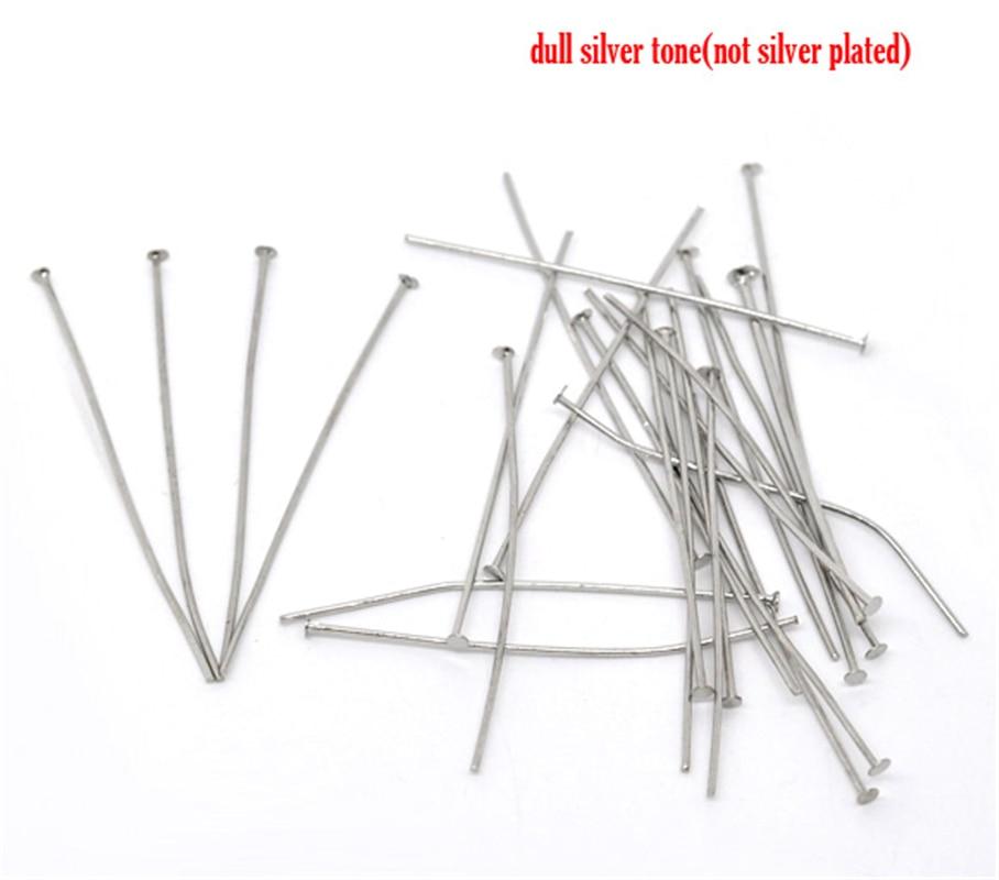 DoreenBeads 300PCs Silver Color Head Pins 0.7x50mm(21 Gauge) (B01482), Yiwu