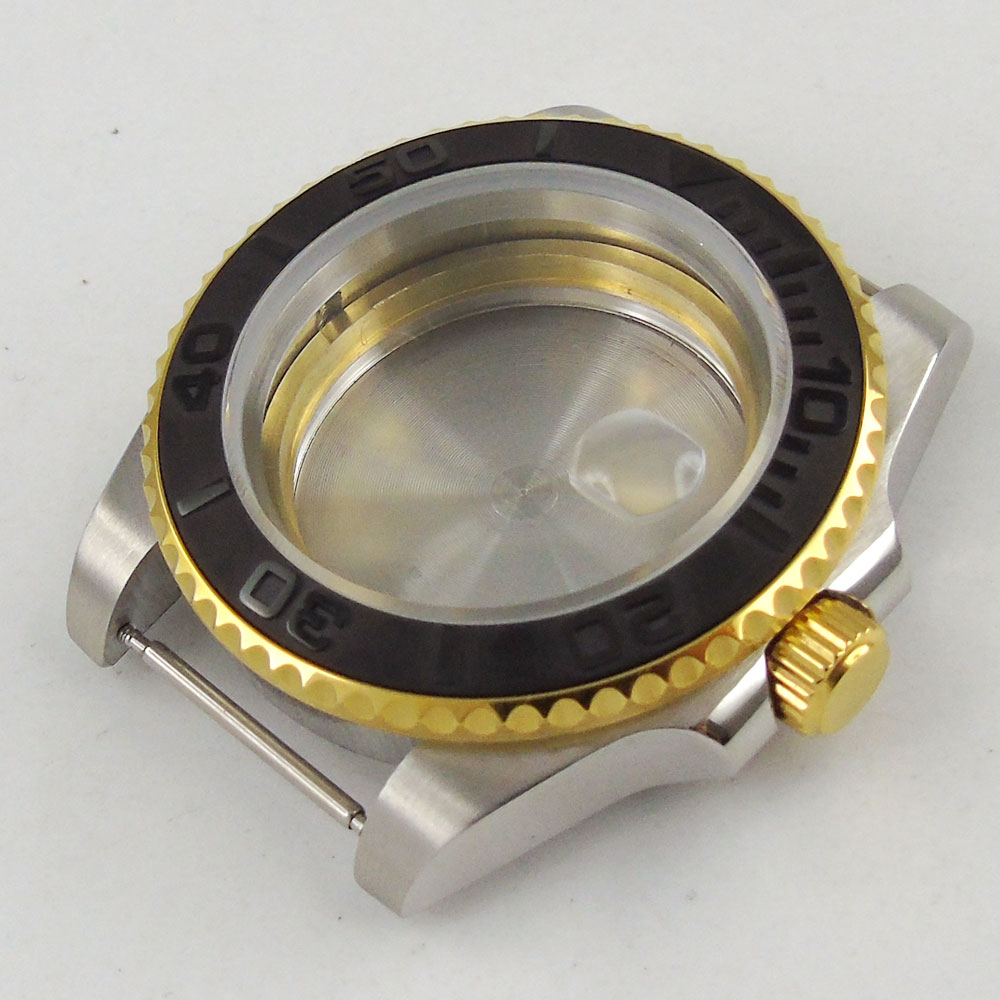 parnis 40mm 316L Sapphire Glass ceramic bezel golden plated Watch Case fit 2824 2836 Movement