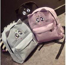New Korean College Style Cute Cat Ear Sailor Moon Backpack Women Canvas Double Shoulder School Bags Casual Women Travel Rucksack lady new embroidery unique nice school bag ethinic travel rucksack shoulder bags women national style college students backpack