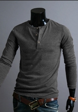 2016 new men's solid color round neck sweater buttons British fashion fit hedging long-sleeved warm Wool sweaters
