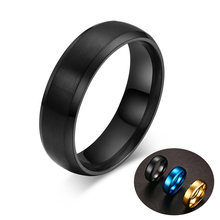 a544652f99f5 De acero inoxidable de los hombres negro anillos para las mujeres de los  hombres cepillado confort ajuste boda banda anillo de l.