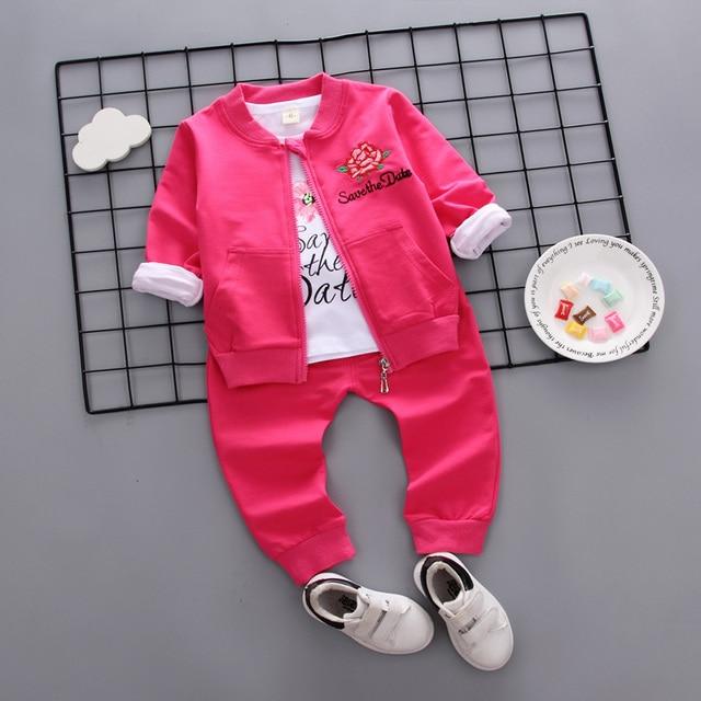 90bdb2302 New Autumn Children lovely clothes sets kids sport suits  coat+T-shirt+trousers 3pcs/set baby girls flower print spring wear