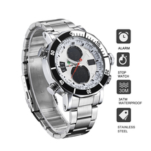 WEIDE luxury men  quartz watch stainless steel date digital led white round big dial water resistant watches automatic self-wind стоимость