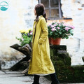 LinenAll original design 2016 women's yellow winter 100% pure line long-sleeve plus velvet thickening vintage trench female suo