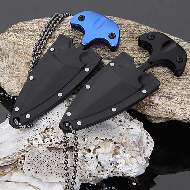 1 Pc New Useful Cool EDC Mini Double Edge Dagger Fixed Blade Neck Knife Outdoor Camping Survival Safe Stainless Steel Tool