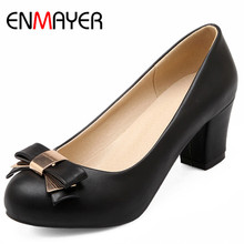 ENMAYER High Heels Slip-on Shoes Woman Pumps Plus Size 34-43 Black Beige Pink Square Casual Womens