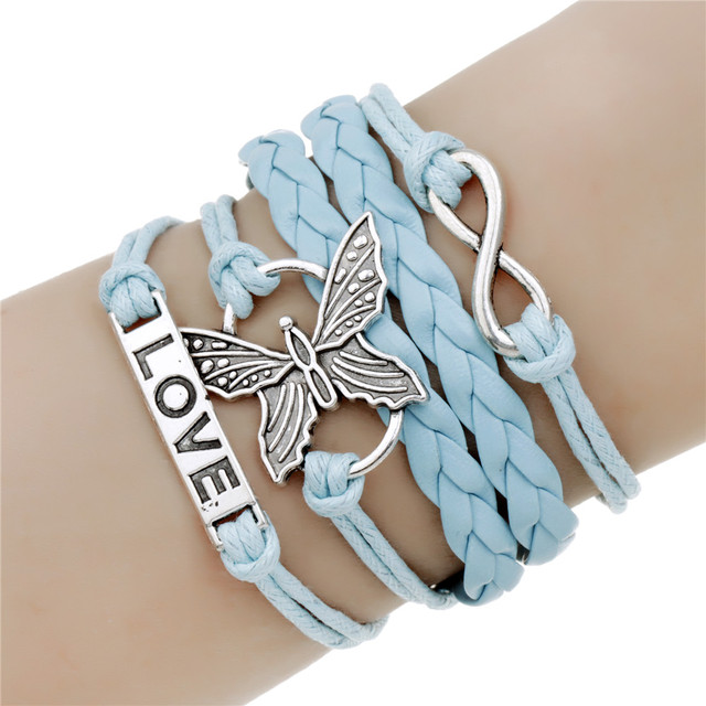 Fashion Various Styles Leather Bracelets LOVE Butterfly Charms Bracelets Wholesale Little Birds & Owl & Stars Heart Jewelry Gift