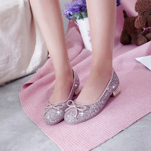 YMECHIC 2019 Spring Bling Sequined Ladies Party Wedding Shoes Silver Pink  Butterfly-knot Low Heel 39e8eb8b40ff