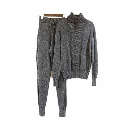 Vendita calda tute 2018 nuovo inverno due set dolcevita cashmere visone lavorato a maglia maglioni e pantaloni casual moda donna suit