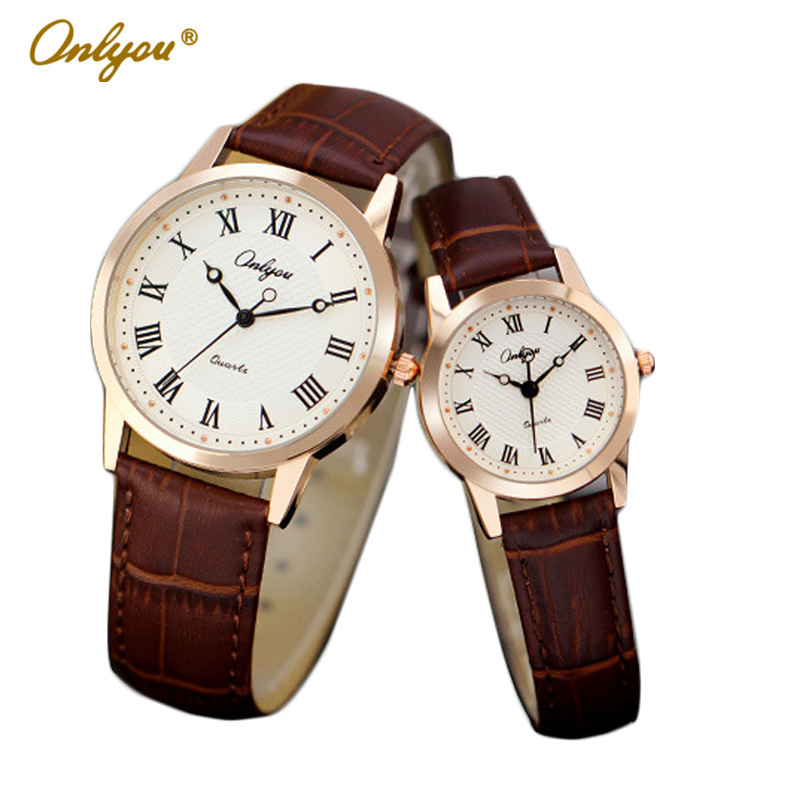 Onlyou Brand Fashion Casual Leather Quartz Watches Men Women Lovers Watch For Boys Girls Wristwatches Ladies Watch Clock 8855 2017 new couple watches lovers guanqin brand quartz watch women round leather fashion casual men wristwatches female sport watch
