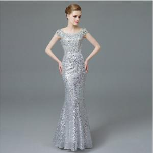 Image 4 - Cap sleeves rhinestone beading evening dresses long luxury Sequin Mermaid Long Evening Dress golden & silver mermaid formal gown