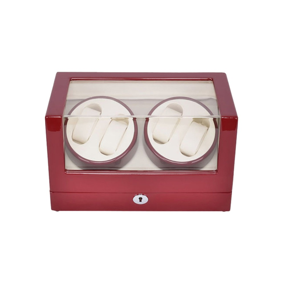 Watch Winder ,LT Wooden Automatic Rotation 4+0 Watch Winder Storage Case Display Box (red-white) with lock dark wine red wooden watch display box automatic switch and lock watches case jewelry storage holder organizer free shipping