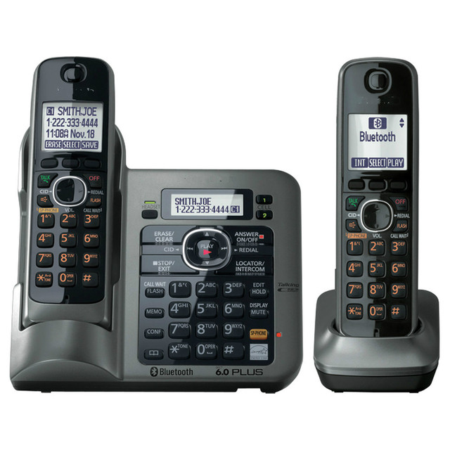 2 Handsets Kx Tg7641 Series Dect 6 0 Link To Cell Digital Wireless Phone