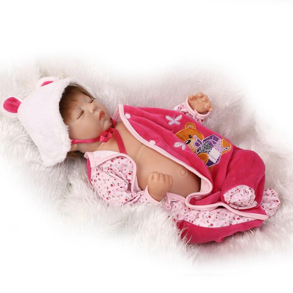 22inch silicone vinyl real soft touch reborn baby 55CM lifelike newborn baby sleeping sweet baby