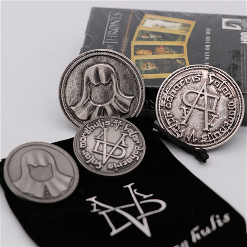 A Song of Ice and Fire Game of Thrones Cosplay Prop Braavos Faceless Coin Valar Morghulis Jaqen H'ghar Arya Stark Badge Toy New image