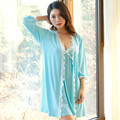 2016 New Lace Rim Sleepwear Dress Polka Dot Gown Robe & Gown Sets Women Nightie Robe Sexy Pajamas Women's Fashion Sleepwear