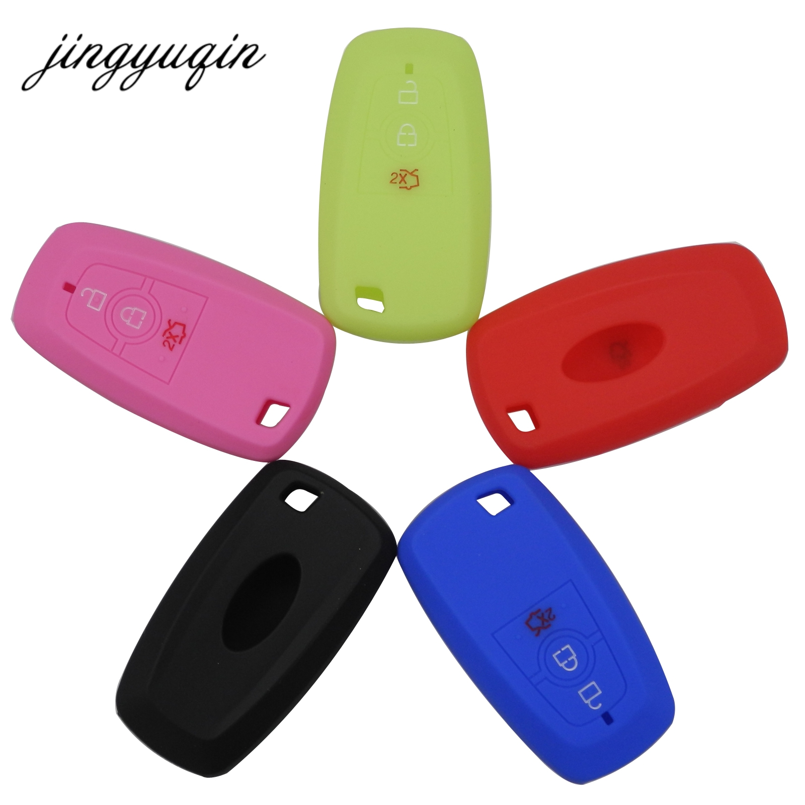 jingyuqin Silicone Car Flip folding key Cover for Ford Mondeo 2017 3 Buttons Remote Fob Case