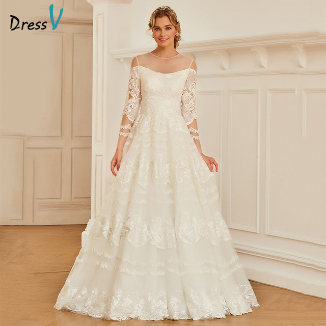 cc4f47ad2ad5e Dressv Scoop Neck A-line Wedding Dress Three Quarter Sleeves Tulle  Appliques Lace Button Church Garden Princess Wedding Dresses