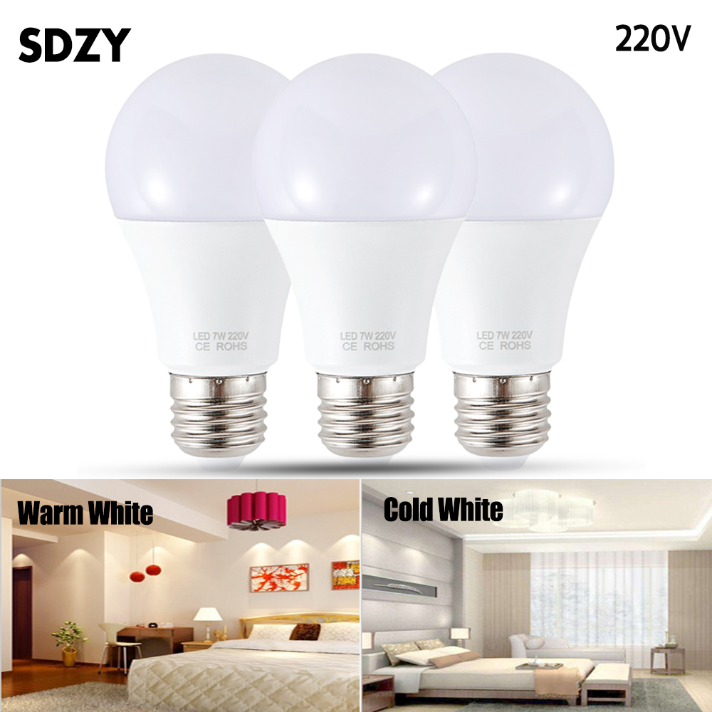 LED Lamp E27 LED Bulb AC 220V 230V 240V 15W 12W 9W 7W 5W 3W Lampada LED Spotlight Table Lamp Lamps Light