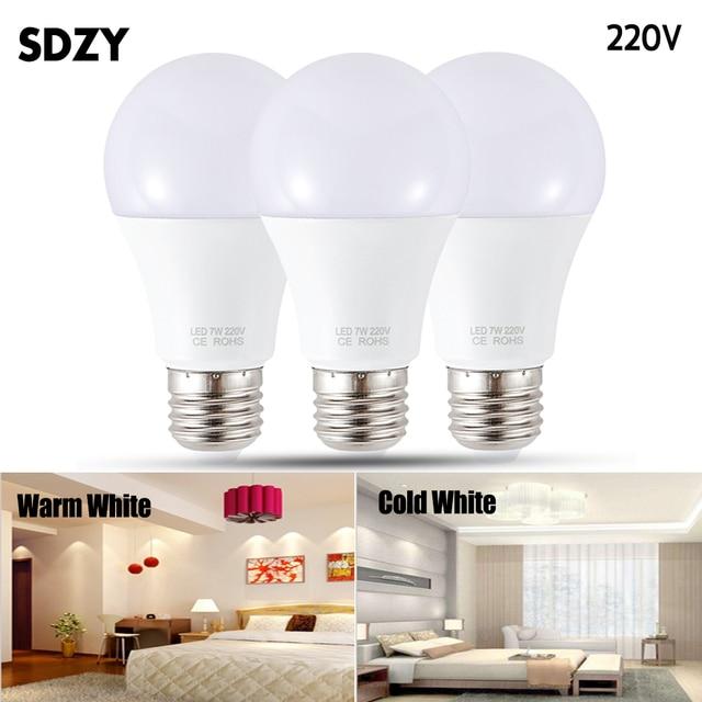 Lampa LED E27 żarówka LED AC 220 V 230 V 240 V 15 W 12 W 9 W 7 W 5 W 3 W Lampada doprowadziły Spotlight lampa stołowa lampy światła