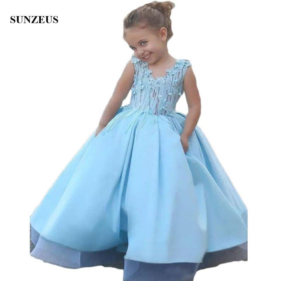 Bébé bleu Satin mère fille robe fleur fille robes pour les mariages mignon Appliques Communion robes Dubai arabe enfants S1519
