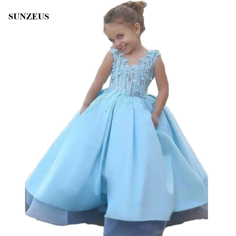 Baby Blue Satin Mother Daughter   Dress     Flower     Girl     Dresses   for Weddings Cute Appliques Communion   Dresses   Dubai Arabic Kids S1519