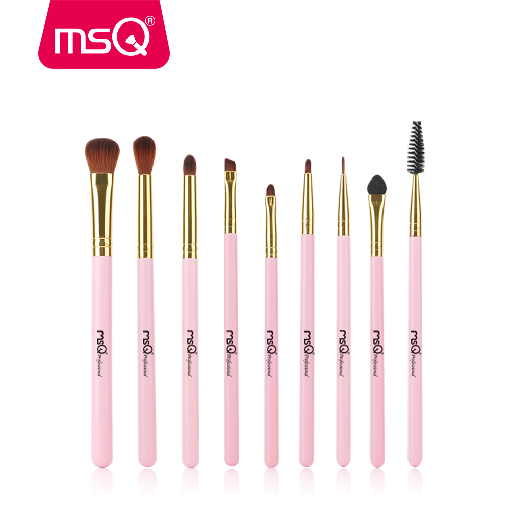 MSQ 9Pcs Eye Makeup Brushes Set Synthetic Hair Professional Eyeshadow Cosmetics High Quality Make Up Brushes Beauty Tools Pink msq makeup set for professional makeup artist 7pcs make up necessity with a multi functional cosmetics case