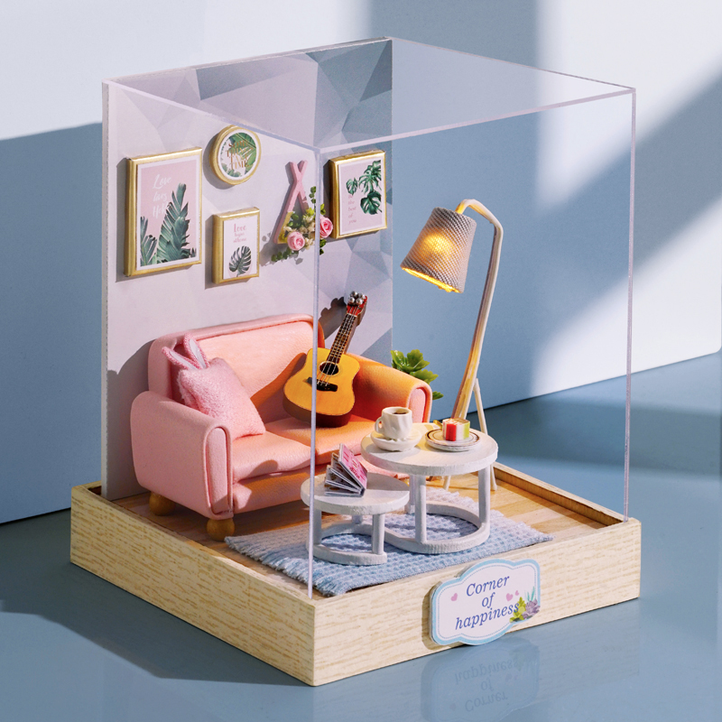 DIY Dollhouse Furniture Miniature Wooden Miniaturas Doll House Box Theatr Toys For Children Birthday Gifts Casa Seed World QT25