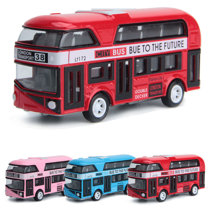 4 colors Pullback Alloy double deck bus car toys model Toys for children London city School bus Baby gift brinquedos vehicle(China)