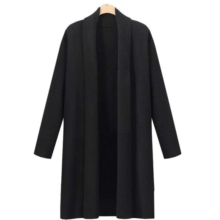 Solapa Invierno E Gran La Slim Manga Otoño Larga En De Suéter Las Mujeres Tamaño Chaqueta Ropa Nueva Abrigo SwASq8