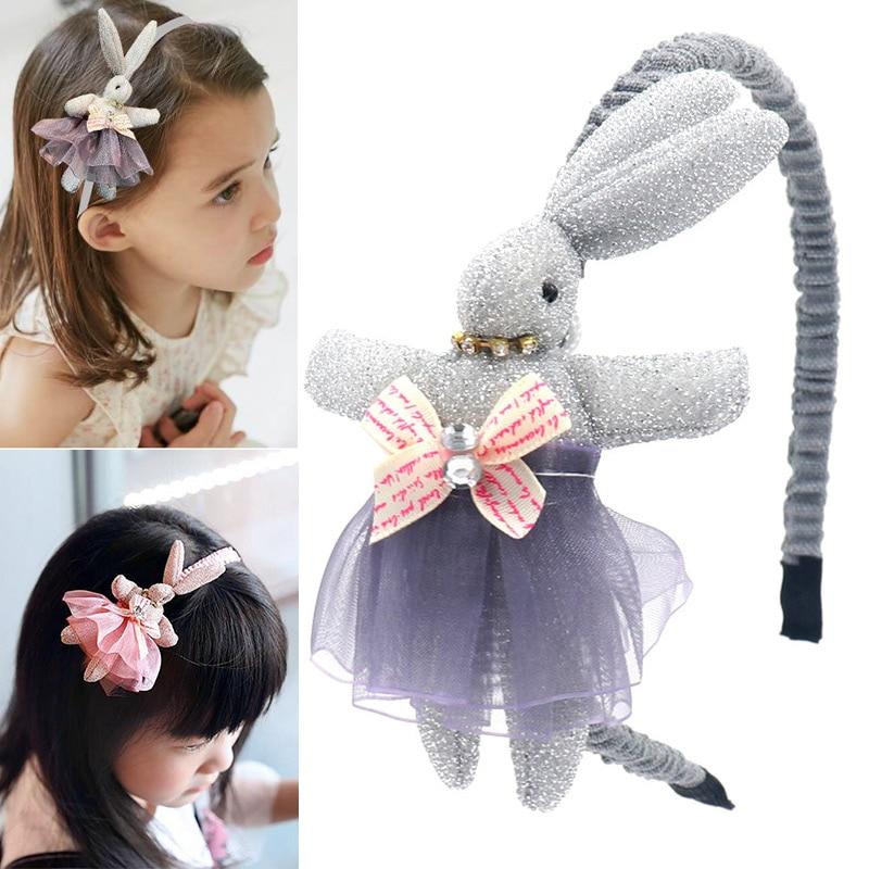 Girls Hair Band Cartoon Rabbit Lace Dress Headbands Anti-skid Headwraps  BM88