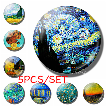 5PCS/SET Van Gogh Starry Night Sunflower Oil Painting Round 25mm Glass Cabochon Handmade Jewelry Supply Pendant Bracelet Making