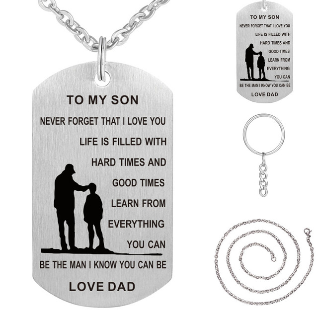 c8d611f47 TO MY SON Stainless Steel Pendant Necklaces Engrave Name Love Dad/Mum ID  Tag Necklaces