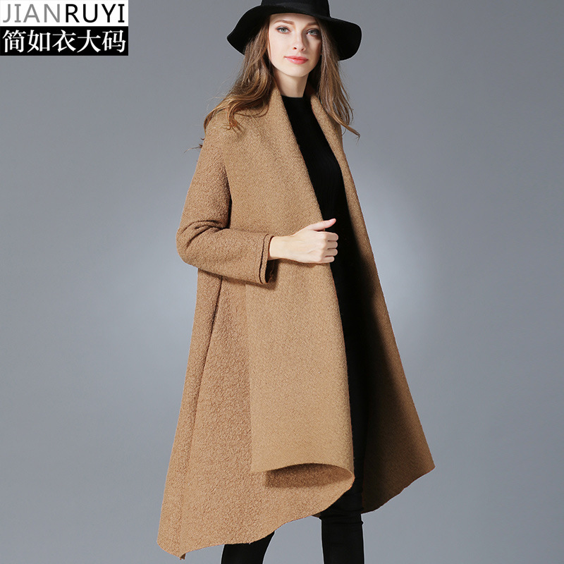 Large spot Europe woolen cloth overcoats pure color female asymetric length winter open stitch big yards dress long outwears 043