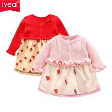IYEAL Princess Long Sleeve Baby Girl Dress Newborn Infant Clothes Knitted Tulle Embroidery Kids Party Dresses for 1-4Y