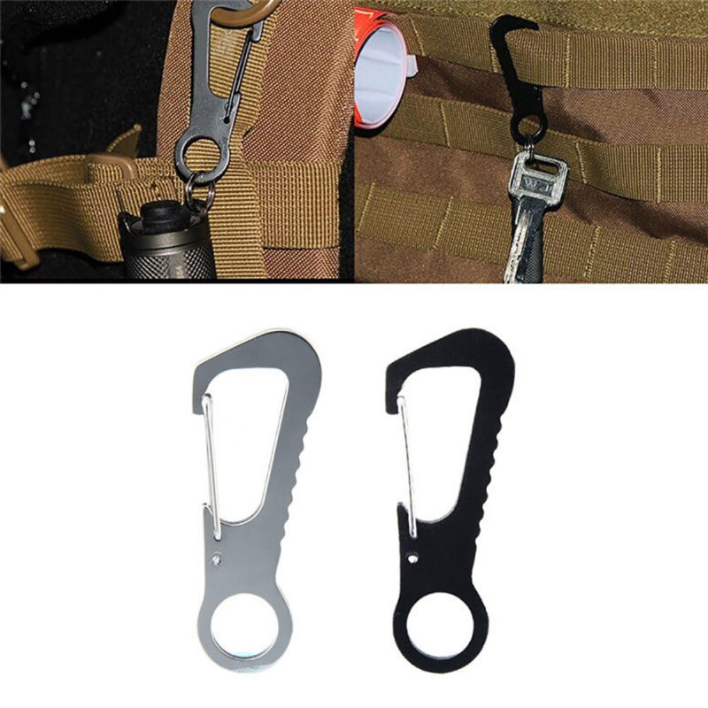 2 pcs Outdoor D Type Buckle Stainless Steel Portable Camping Climbing Multi Tools EDC Hanging Buckled Bottle Opener Clip Hook