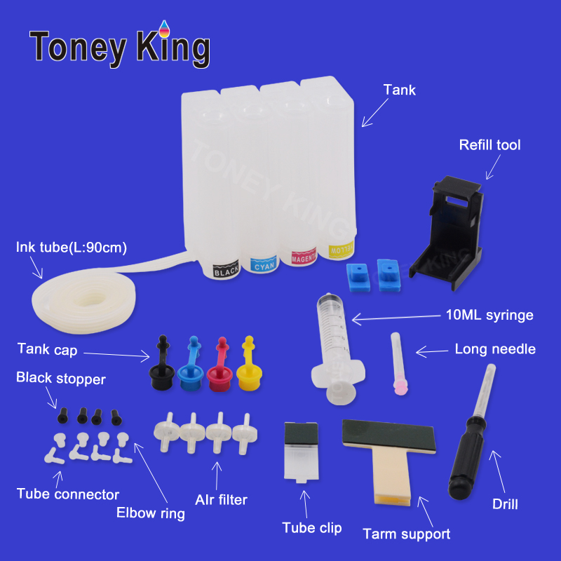 Toney King 4 Color CISS Ink Supply System For Canon PG 445 PIXMA MX494 MG2440 MG2540 MG 2440 2540 2940 2540S Printer Ciss Tank