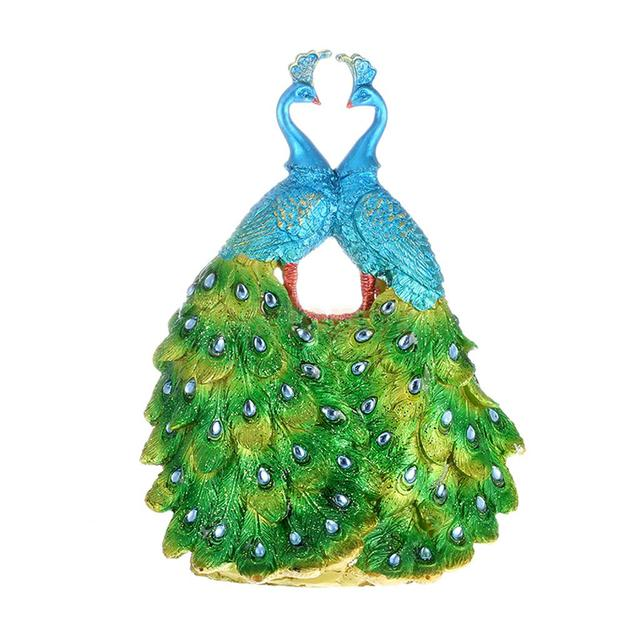 Colorful Resin Peacock Shaped Gorgeous Glitter Feather Dance Figurine Art  Decor Display Ornaments Statue For Home