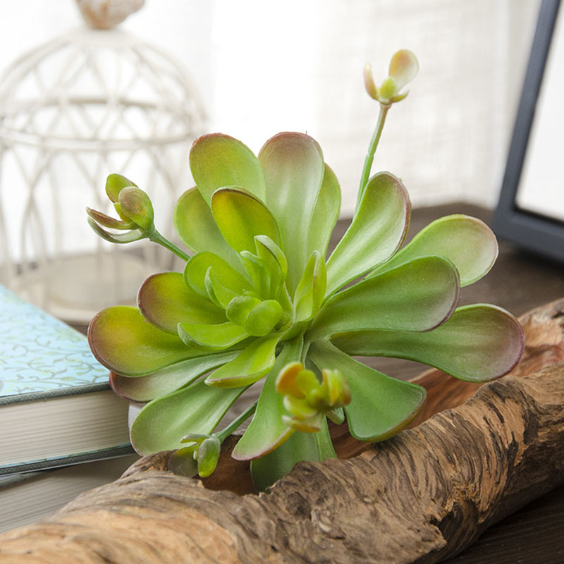 7 Tall Lotus Flower Artificial Succulent 4 Round Plastic Plants Home Decor Green Red Fake Landscape Unpotted In Dried Flowers