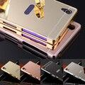 Espelho de metal de alumínio caso de luxo para sony xperia z5 premium z3 z4 Z2 Z1 L39H Compacto M4 M5 Tampa Traseira Casos de Telefone Mais Novo Do Aqua