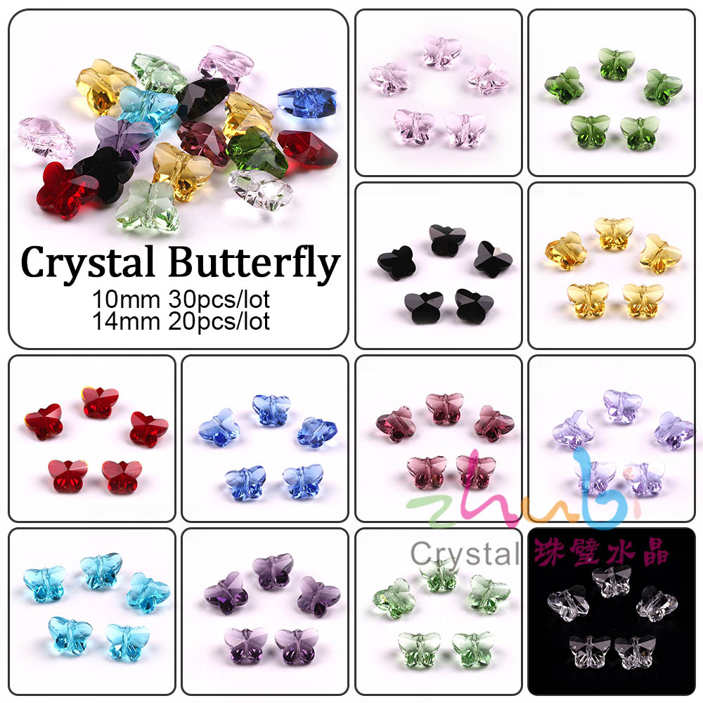 Fashion Jewellery Glass Beads DIY 10/14mm Crystal Butterflies Shape Bright Color Loose Beads Materials To Make Curtain Design