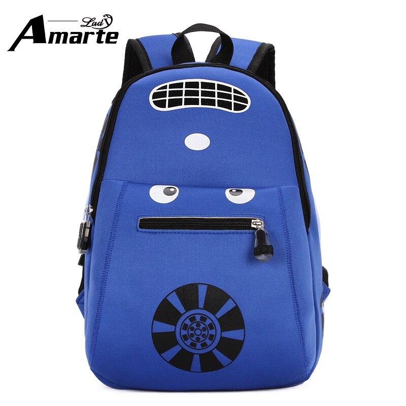 New Blue Car Cartoon font b Backpack b font Boys School Bags Waterproof font b Kids